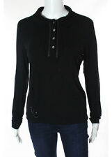 VERSACE Black Collared V Neck Long Sleeve Blouse Top Sz L