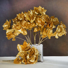 84 Gold SILK OPEN ROSES Wedding Discounted Flowers Bouquets for Centerpieces