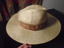 NWT Gucci GG Logo Straw Wide Brim Fedora Beige Ladies Hat with Ribbon sz Medium