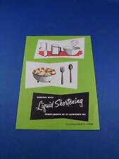 RECIPE FOLD OUT FLYER COOKING WITH LIQUID SHORTENING ST. LAWRENCE OIL ADVERTISE