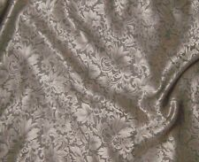 "Silk JACQUARD Fabric BEIGE LEAVES BAROQUE 9""x22"" REMNANT"
