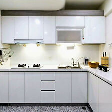 WHITE GLOSS Kitchen Cabinet Refacing Film Vinyl Self Adhesive Wallpaper 5M Roll