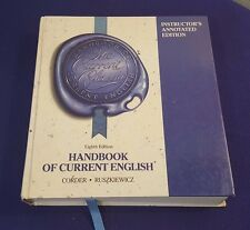 1989 HANDBOOK of CURRENT ENGLISH Hardcover Text Book Instructors Annotated Edit