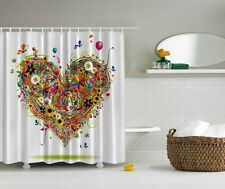 Spring Colorful Daisies Sunflower Shower Curtain Butterflies Balloons Fun Decor