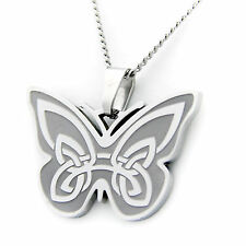 Irish Blessing Celtic Butterfly Pendant Stainless Steel Necklace
