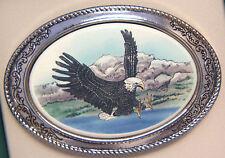 Belt Buckle Barlow Scrimshaw Carved Painted Art Eagle Landing Silver Bird 141c