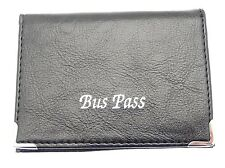 Black Leather Bus Train Pass ID Oyster Travel Card Holder Zip Up Coin Section
