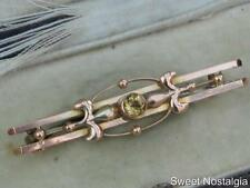 BEAUTIFUL ART NOUVEAU 9CT ROSE GOLD AND CITRINE FLEUR DE LIS DESIGN BAR BROOCH