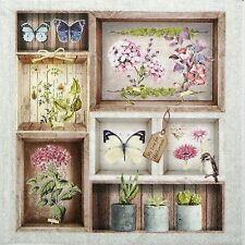 4 Single Table Lunch Party Paper Napkins for Decoupage Decopatch Craft Herbarium