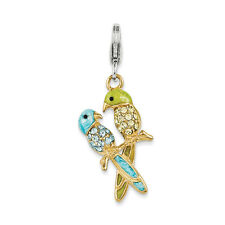 Swarovski Elements Love Birds Charm .925 Sterling Silver Click On Amore La Vita
