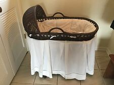 Beautiful Pottery Barn Wicker Bassinet with Bedding and Stand