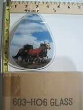FREE US SHIP ok touch lamp replacement glass panel Wild Horses Stallion 603-HO2