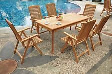 Marley Grade-A Teak 7pc Dining 82 Rectangle Table 6 Reclining Folding Arm Chairs