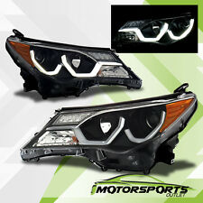 For 2013 2014 2015 Toyota RAV4 Bar Style LED DRL Projector Black Headlights Pair