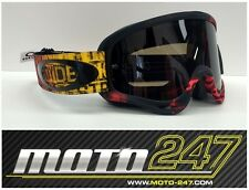 OAKLEY O FRAME MX MOTOCROSS GOGGLES DISTRESS TAGLINE RED/YELLOW - DARK GREY LENS