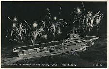 POSTCARD  SHIPS  HMS  INDOMITABLE  Coronation Review of the Fleet