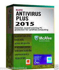 2015 McAfee Anti Virus Software Plus 1-PC - 1 YEAR Easy Download Version RRP £19