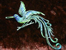 Vintage large Silver Enamel Marcasite bird-of-paradise Brooch Lapel Pin Art Deco