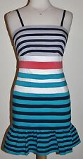 Minuet Anthropologie Striped Fitted w/ Flare Hem Sleeveless Adjustable M Medium
