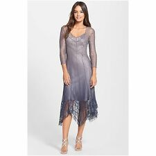 KOMAROV WOMEN'S LACE & CHIFFON HANDKERCHIEF HEM DRESS, Grey, size L