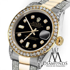 Women's 31mm Rolex Oyster Perpetual Datejust Custom Diamonds Black Tone Dial