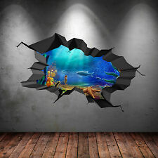FULL COLOUR AQUARIUM UNDER WATER SEA FISH CRACKED 3D WALL ART STICKER DECAL 2