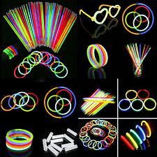 50 Pcs Glow Sticks Bracelets Necklaces Fluorescent Neon Party Magic New