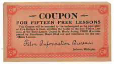 1930s 5 Dollar Coupon Movie Acting Lessons Film Information Bureau Jackson MI