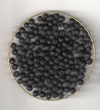 Vintage black matte round glass beads---4 mm.