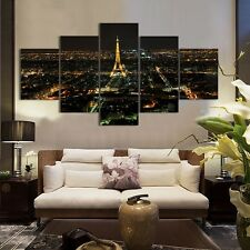 Unframed 5Panel Modern Home Decor Abstract Eiffel Tower Canvas Wall Painting Art