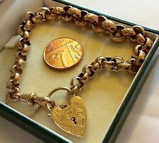 Beautiful Quality Chunky Antique 9ct Gold Padlock Bracelet Very Old Stunning