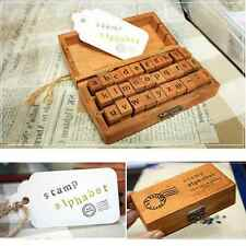 30X Retro Creative Craft Wooden Box Alphabet Letter Number Rubber Stamp Set