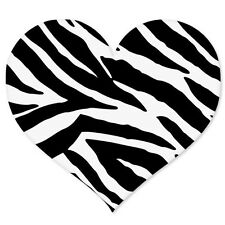 "Zebra Animal Print Heart car bumper sticker 4"" x 4"""