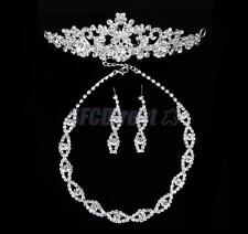 Bridal Wedding Crystal Necklace, Earrings, Crown Headband Veil Tiara Jewelry Set