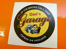 DADS GARAGE Motorcycle Classic Car Workshop Sticker Decal 1 off 80mm