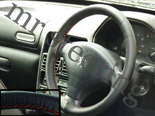FOR PEUGEOT 607 QUALITY ITALIAN REAL LEATHER STEERING WHEEL COVER ORANGE STITCH