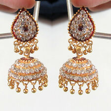 Rabbi Gold Tone / Plated Stone diya Earring Drops Jhumka