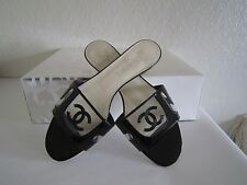 CHANEL Slides Sandal Flats Black Patent Leather /Clear Lucite US 7.5-8 EU 38 1/2