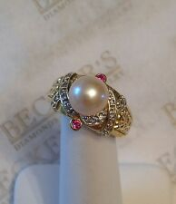 Large 18k yg 9MM Akoya Cultured Pearl Diamond & Ruby Fancy Carved Ring size 9
