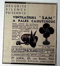 Publicité ancienne Ventilateur SAM, pales caoutchouc, Sopal Paris   1938