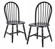 Winsome Wood Windsor CHAIR, Comfortable Set of 2 Classic CHAIRS, Black Finish