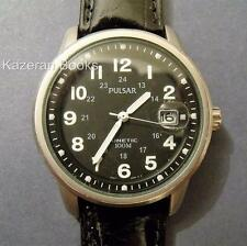 Working Mans Watch Pulsar Black Dial Date Kinetic Wristwatch YT57-X022