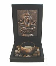 Feng Shui Small Desktop Zen Garden with Ganesh Image Rocks Candle