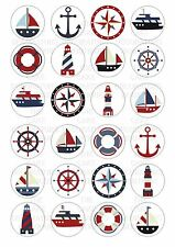 24 Sailing Boat Wafer / Rice Paper Cupcake Topper Edble Fairy Cake Bun Toppers