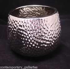 "Modern Reflective All Silver Ceramic Hammered Dimpled Textured Flower Pot 4"" H"