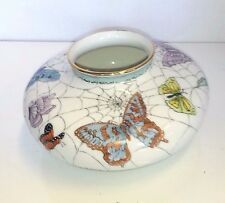 Antique Hand painted butterfly vase made by Edna F. Roth