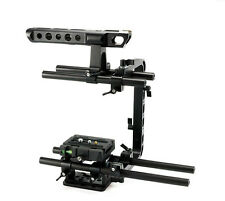 Rig Cage With Top Handle Baseplate Rod F/ DSLR Camera Sony A7S BMCC Canon