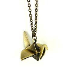 ORIGAMI BIRD NECKLACE Japanese Crane Metal Pendant Jewelry NEW Clasp Chain Paper