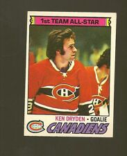 1977 -  78 Topps Hockey Set KEN DRYDEN AS ALL STAR CARD