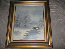 Original Barrister Signed Oil Painting Winter SceneGold Silver Wood Frame
